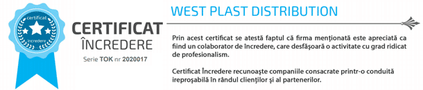 certificat de incredere West Plast Distribution SRL