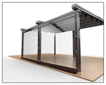 Sistem inchidere terasa folie transparenta cu capse si bride